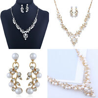 Vintage Women 925 Silver Crystal Pearl Charm Pendant Necklace Chain Jewelry Gift