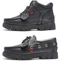 Kickers Lennon Leather Boat Deck Shoes & Ankle Boots  Back to School Shoes Black