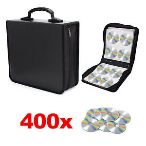 400 Sleeve CD DVD Blu Ray Disc Carry Case Bag Holder Wallet Storage Ring Binder