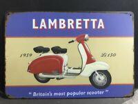 Rétro Vintage Lambretta Publicité Li SX LD TV Métal Signe Taille 28 x 11 cm