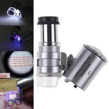 Tragbar 60 fach Objektiv Mini Lupe Handheld Taschen-Mikroskop mit LED Licht HOT!