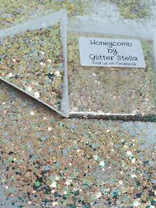 Nail Art Mix Glitter ( Honeycomb )10g Bag Chunky Metallic Holographic Gold