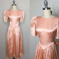 Vintage 80s Pink Satin Formal Dress Size Small