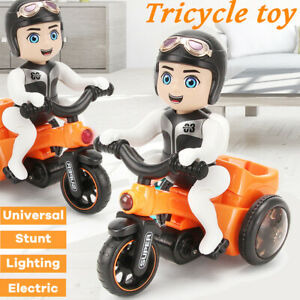 Puzzle Car Toy Trick Stunt Tricycle Light Music Rotate Bike Toys   A A D G