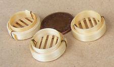 3 Bambù Dim somma VASSOI STEAMER CESTI DOLLS HOUSE miniatura cibo Accessorio ZS