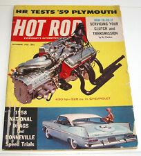 Hot Rod Magazine, 430 hp - 328 cu. in Chevrolet, HR Tests '59 Plymouth, Nov 1958