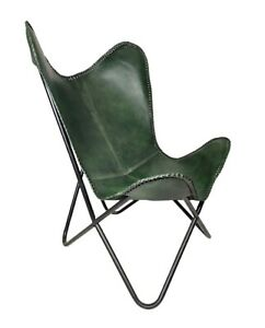 Indian Green Leather Butterfly Chair For Home And Office - Relaxing Chair S6-69