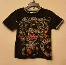 Boy's 3/4, ED HARDY Kids Christian Audigier Colorful Tiger Black Layered T-Shirt