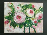 "Original Art Pink Roses Bouquet Original Acrylic painting on canvas 8""x10""x0.8"