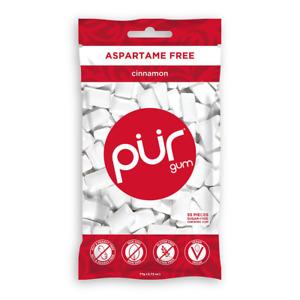 Pur 100% Xylitol Chewing Gum, Cinnamon ,Sugar-Free ,Aspartame Free Vegan 55 Pcs