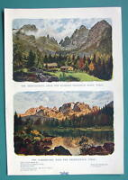 TYROL ALPS Austria - 1901 Offset Litho Print COLOR Two Views