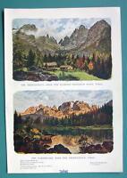 TYROL ALPS Austria - 1901 Offset Litho Print COLOR Two Views
