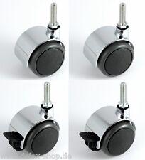 Satz Hartbodenrolle Möbelrolle Chrom 50 mm Gewinde M8 x 30 Chromrolle Lenkrolle