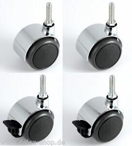 sourcing map Rollen Kunststoff 2 Zoll Zwillingsrad M10 x 15mm Gewindezapfen Lenkrolle 44lb Tragf/ähigkeit 4 St/ück 2 mit Bremse, 2 ohne Bremse