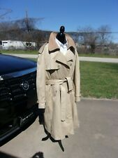 Mens Glenshire Trenchcoat With  Lining and Belt Leather Trim  Size 52 L MINT