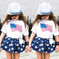 2PCS Toddler Kids Baby Girl Summer 4th of July Short Sleeve Top Skirt Outfit Set