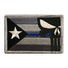 Puerto Rico Flag Punisher Police Thin Blue Hook Fastener Patch (PR10A) BY MILTAC