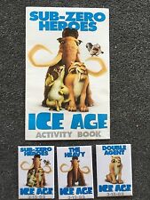 3 Ice Age Pin Button Pinbacks 3-15-02 + Activity Book Manny Diego Double Agent
