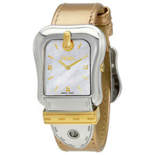 Fendi B.Fendi White Mother of Pearl Dial Ladies Leather Watch F380114551D1