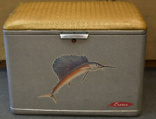 Vintage Cronstroms Cronco Aluminum Cooler Marlin on Front. has Top Tray and Plug