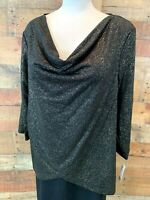 New~ZAC & RACHEL Women's XL Plus Black & Gold-Foil 3/4-Sleeve Poly Top Blouse