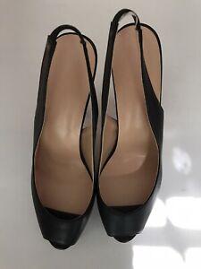 Black Sling Back Leather Heel Size US 12 Euro 43