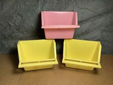 3 Lot | Plastic Small Pet Bird Feed Cup Seed Feeders | Old-Stock | Never used