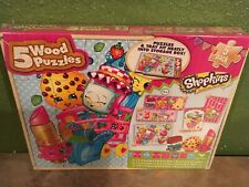 Shopkins 5 Wood Puzzles with storage Box By Cardinal New