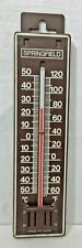 """New listing Vintage Thermometer Springfield Model 7203 Brown Plastic 8.5"""" Fahrenheit Celsius"""