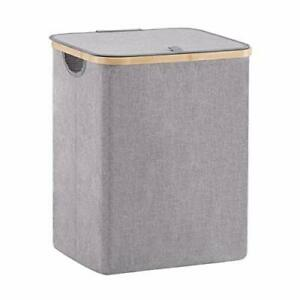 66L Small Bamboo Laundry Hamper Basket with Lid and Handle Waterproof and Collap