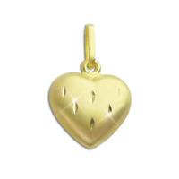 Herz Anhänger diamantiert 585 Gold hohl 0,5g 17,2mm 10,6mm 4,0mm Binder