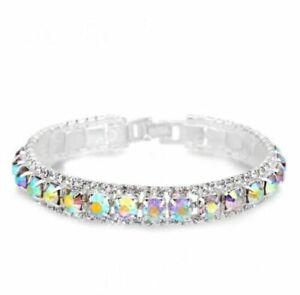 925 Sterling Silver Bracelets Full Cubic Zircon Austrian Crystal In 7 Colours