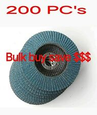 "200pcs X 5"" 125MM 40 Grit ZIRCONIA FLAP DISC WHEELS METAL SANDING GRINDING"