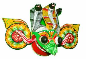 """Asian Handmade Wood Wall Hanging Traditional Tiki Mask 8"""" (Good Vibes for Home)"""