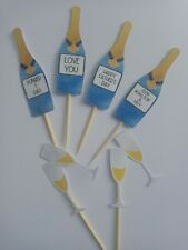 Blue Champagne Father's Day Cup Cake Topper Decorations Picks X6