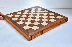 Vintage Inlaid Folding Wooden Chessboard, Book Shaped 30 x 30cm. Storage Inside