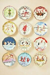 NWT Anthropologie Inslee Farris 12 Days of Christmas Plate- Assorted