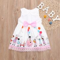 Toddler Baby Girl Sleeveless Cartoon Print Cute Princess Lace Dress Kids Clothes