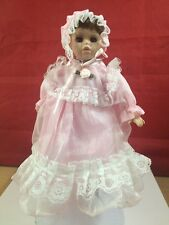 Porcelain and Cloth Doll pink dress 6 3/4''