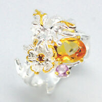 Free Shipping jewelry Natural Citrine 925 Sterling Silver Fine Ring/ RVS78