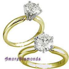0.60 ct G SI1 ideal cut round diamond solitaire engagement ring 14k yellow gold