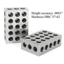 "2pcs 1-2-3 Blocks 0.0001"" Precision Matched Machinist 123 Milling Tools 23 Holes"