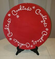 """Hallmark 14.5"""" Large Red Cookie Platter Christmas Snowflakes Serving Dish Plate"""
