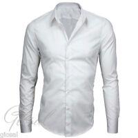Chemise Cintrée Homme Coton élastique Manches Longues Couleur Unie S M L XL