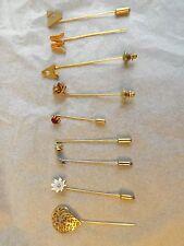 Vtg Lot 9 HAT COAT PINS Stone Flower Rose Heart M A V Initial Gold Silver Tones