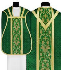 Green Roman Chasuble with stole R001-Z25 Casulla Romana Verde Casula Grün Kasel