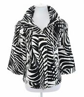 Just B Berek Studded Stretch Zebra Print Utility Full Zip Up Jacket Womens Sz M