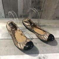 $590 GIUSEPPE ZANOTTI Leather Patent Cap toe Ballet Flats Women's Sz 39, 8.5-9