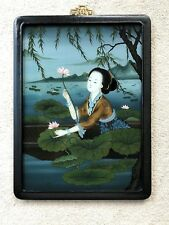 Vintage Chinese Reverse Painting on Glass Frame Court Lady Lotus Picking Summer