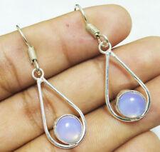"25cts Dangle Earring Opalite Gemstone 925 Sterling Silver Overlay Sz 1.5"""